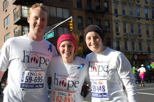 David, Lindsey, and Rebecca running with Team IoH in the NYC Marathon