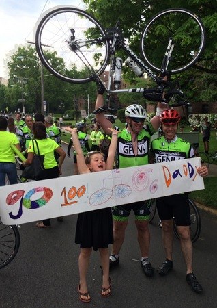 Alexa Cheering with Shannon after the 2015 Gran Fondo
