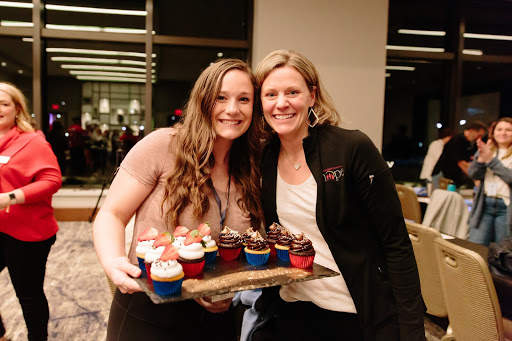 Events Director, Betsy Ogren, surprises Katelyn on her 18th birthday