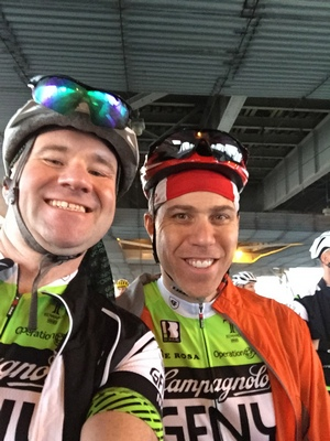 Shannon (left) and his riding buddy Paul
